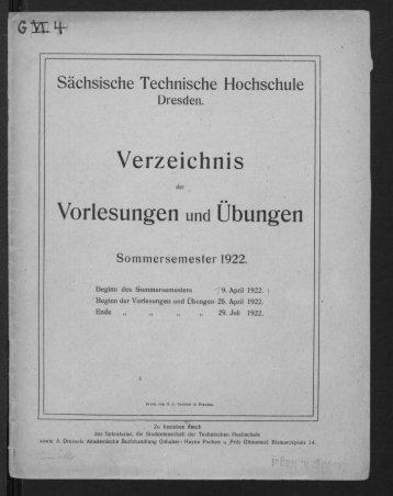 Verzeichnis der Vorlesungen und Übungen Sommersemester 1922