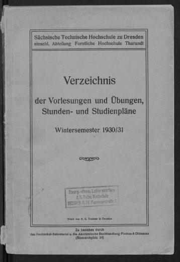 Verzeichnis der Vorlesungen und Übungen, Stunden- und Studienpläne Wintersemester 1930/31