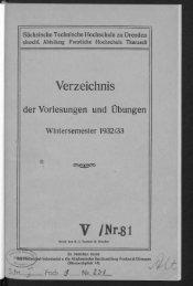 Verzeichnis der Vorlesungen und Übungen Wintersemester 1932/33