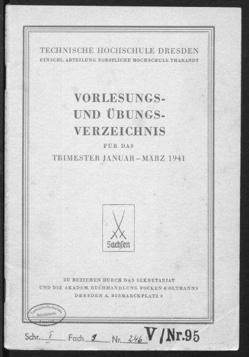 Vorlesungs- und Übungsverzeichnis für das Trimester Januar - März 1941