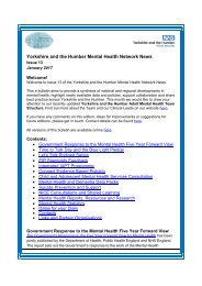 Yorkshire and the Humber Mental Health Network News