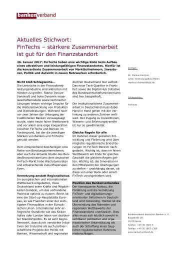 Aktuelles Stichwort: FinTechs - stärkere Zusammenarbeit ist gut für den Finanzstandort