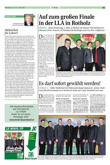(Bezirksvorstand) nur in Innsbruck-Stadt und - Tiroler Bauernbund