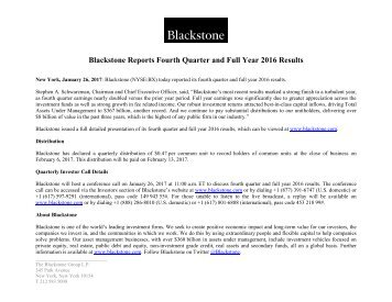 Blackstone Reports Fourth Quarter and Full Year 2016 Results