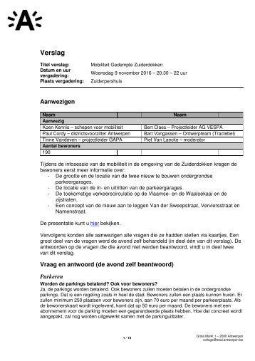 Verslag infomomoment over mobiliteit Gedempte Zuiderdokken