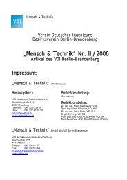 Mensch & Technik Nr. III/2006 - Artikel des VDI Berlin-Brandenburg