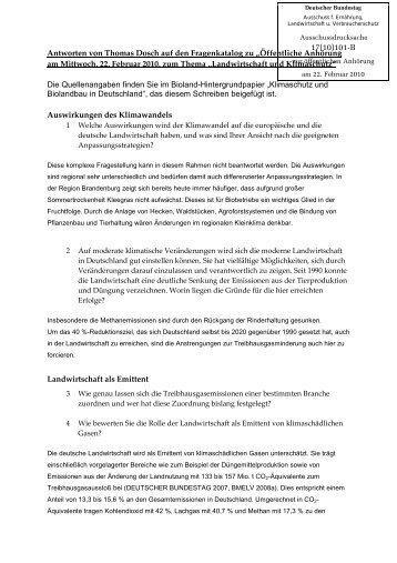 Klimaschutz & BiolandBau in deutschland - Deutscher Bundestag