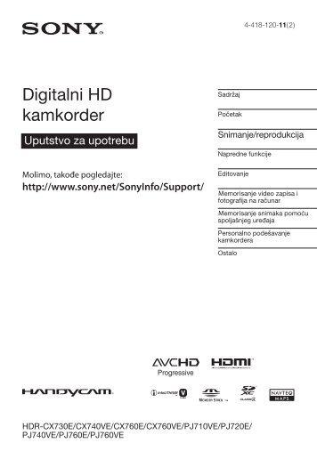 Sony HDR-CX760E - HDR-CX760E Istruzioni per l'uso Serbo