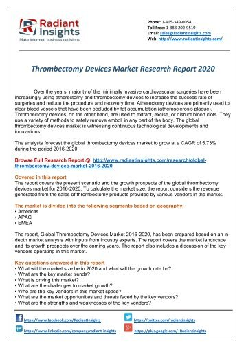 Thrombectomy Devices Market: Segmented by Application and Geography Trends, Growth and Forecasts by Radiant Insights,Inc