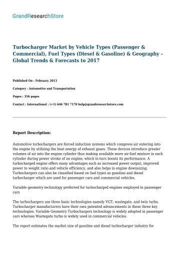 Turbocharger Market-Forecast to 2021