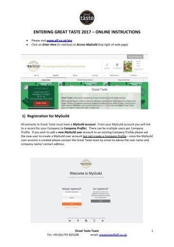 ENTERING GREAT TASTE 2017 – ONLINE INSTRUCTIONS