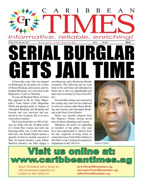 Caribbean Times 85th Issue - Friday 27th January 2017