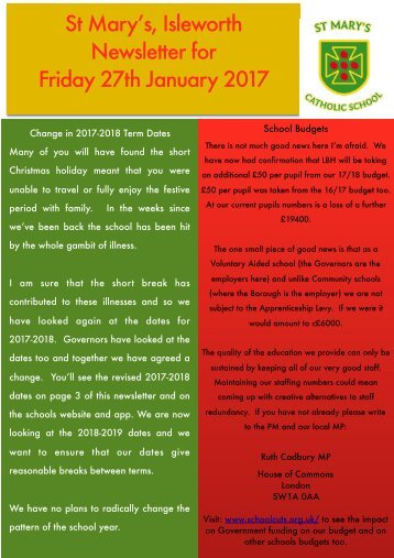 St Mary's Isleworth Newsletter for Friday 27th January 2017