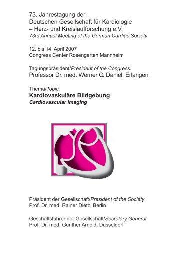 73. Jahrestagung der Deutschen Gesellschaft für Kardiologie – Herz ...