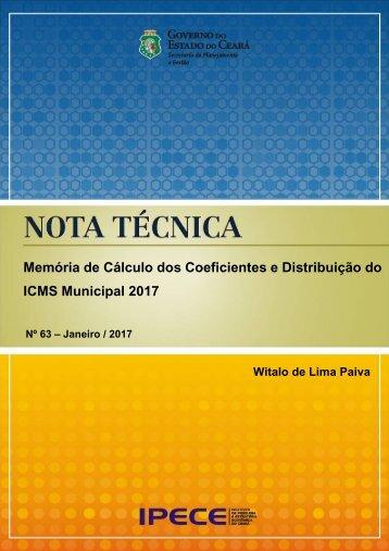Memória de Cálculo dos Coeficientes e Distribuição do ICMS Municipal 2017