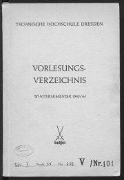 Vorlesungsverzeichnis Wintersemester 1943/44