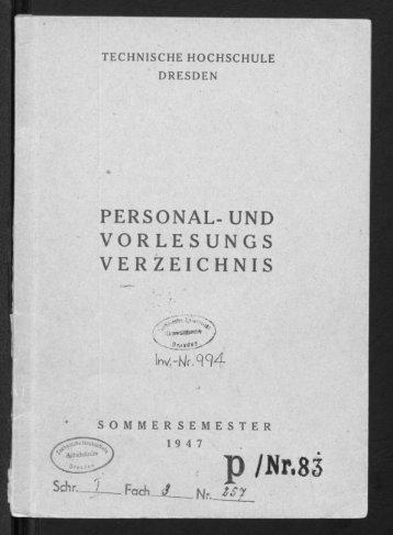 Personal- und Vorlesungsverzeichnis Sommersemester 1947