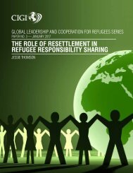 THE ROLE OF RESETTLEMENT IN REFUGEE RESPONSIBILITY SHARING