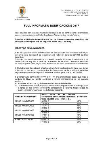 FULL INFORMATIU BONIFICACIONS 2017