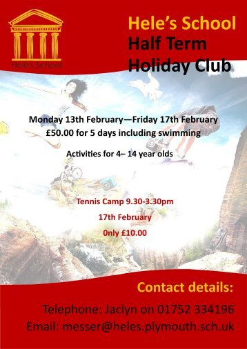Hele's School Half Term Holiday Club