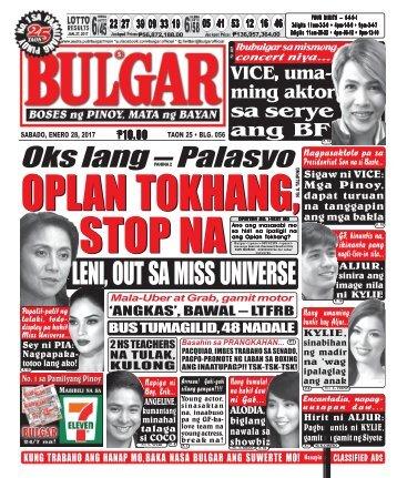 January 28, 2017 BULGAR: BOSES NG PINOY, MATA NG BAYAN