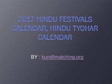 2017 Hindu Festivals Calendar, Hindu Tyohar Calendar