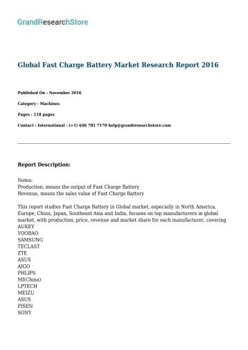 Global Fast Charge Battery Market Research Report 2016