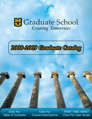 2008-2009 Graduate Catalog - Graduate School @ the University of ...