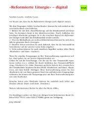 Reformierte Liturgie« – digital - reformiert-info.de