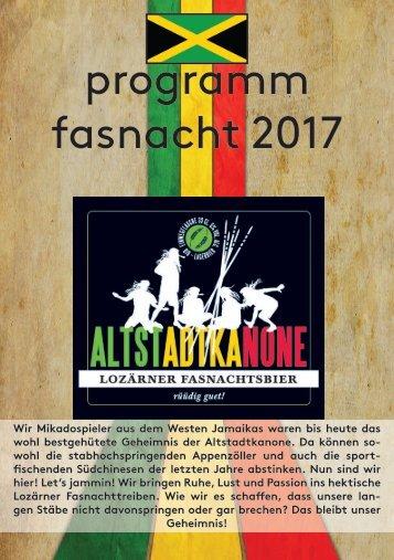 Altstadtkanone Programm Fasnacht 2017