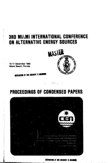 3rd miami international conference on alternative energy ... - IAEA