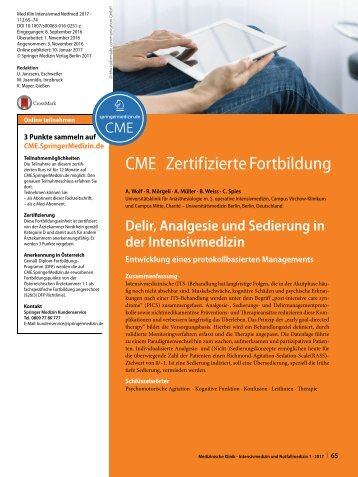 12 CME Delir, Analgesie und Sedierung in der Intensivmedizin