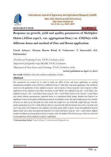 Response on growth, yield and quality parameters of Multiplier Onion (Allium cepa L. var. aggregatum Don.) var. CO(On)5 with different doses and method of Zinc and Boron application