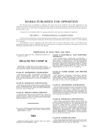 10 April 2001 - U.S. Patent and Trademark Office