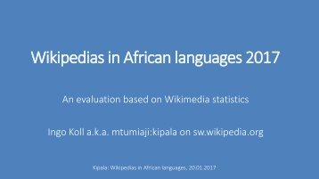 Wikipedias in African languages 2017