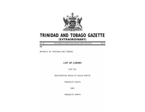 trinidad and tobago gazette - Trinidad and Tobago Government