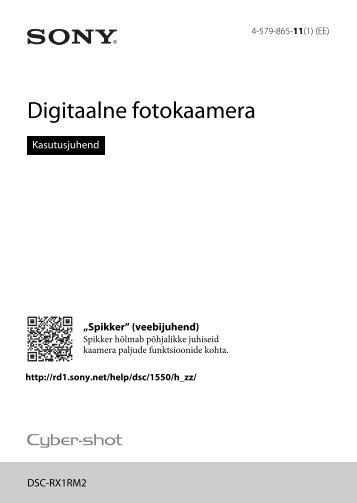 Sony DSC-RX1RM2 - DSC-RX1RM2 Istruzioni per l'uso Estone