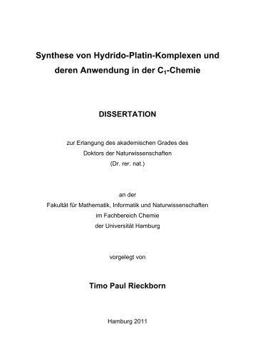 Synthese von Hydrido-Platin-Komplexen und deren Anwendung in ...