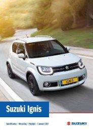 Suzuki Ignis specificatieprijslijst januari 2017