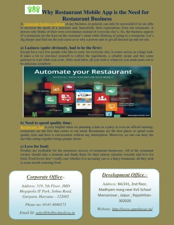 Why Restaurant Mobile App is the Need for Restaurant Business