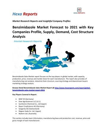 Benzimidazole Market Forecast to 2021 with Key Companies Profile, Supply, Demand, Cost Structure Analysis