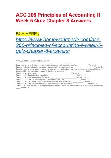 ACC 206 Principles of Accounting II Week 5 Quiz Chapter 8 Answers