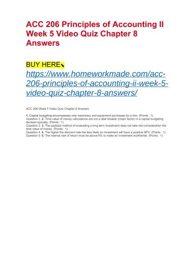 ACC 206 Principles of Accounting II Week 5 Video Quiz Chapter 8 Answers
