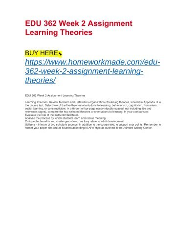 EDU 362 Week 2 Assignment Learning Theories
