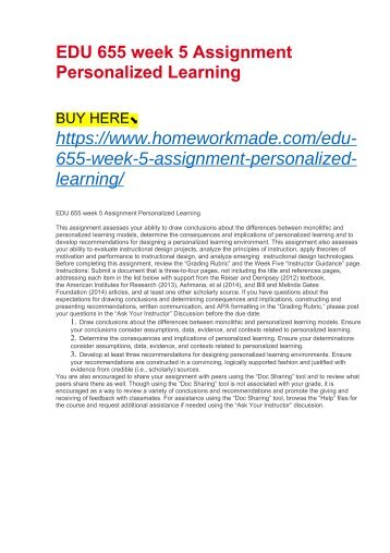 EDU 655 week 5 Assignment Personalized Learning