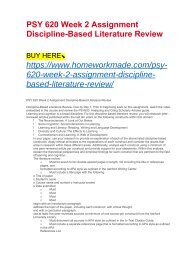 PSY 620 Week 2 Assignment Discipline-Based Literature Review