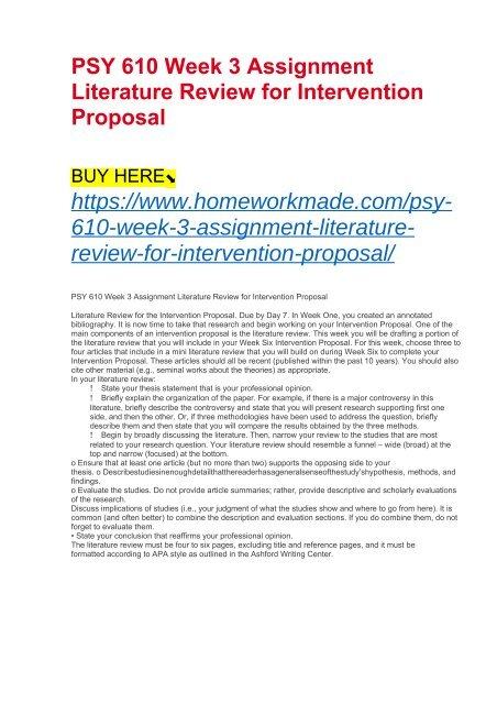proposal literature review