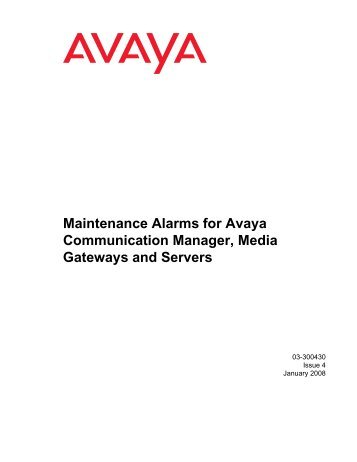 Server Alarms - Avaya Support