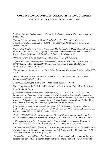 Collections Ouvrages Collectifs Monographies Academie Royale De