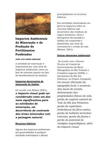 Mineração e Produção de Fertilizantes Fosfatados - Impactos - Estudo de caso